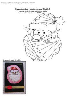 Christmas Santa Face Iris Folding Pattern
