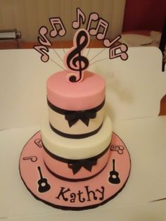 Alyssa's music cake By CakesByDay on CakeCentral.com Cupcake Decorating Tips, Cookie Decorating, Cupcakes, Cupcake Cakes, Disco Cake, Music Cakes, Guitar Cake, 21st Birthday Cakes, Mom Cake