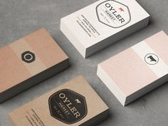 These are the business cards of Oyler Market, a conceptual Central Texas style barbecue restaurant and craft brewery (school project by Alex Navarro). The style of the card really represents the business of crafting and has a mix of modern and vintage aspects.