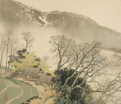 KAWAI Gyokudō(川合玉堂 Japanese, 1873-1957) Mountain Village in Early Spring  山家早春  1942 Color on silk, hanging scroll