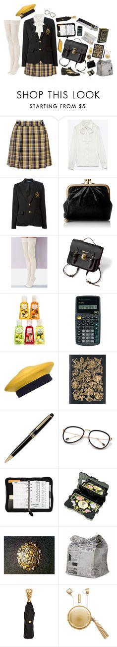 """Studious"" by m-bot ❤ liked on Polyvore featuring Topshop, Yves Saint Laurent, Polo Ralph Lauren, HOBO, Sheer Caress, Donna Karan, Montblanc, Anna Sui, Muji and Ultimate"