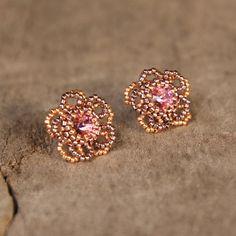 Stud earrings sterling silver Flower earrings by Naryajewelry
