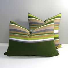 Decorative indoor, outdoor pillow cover in lime & olive green, charcoal grey and white stripes sewn in Sunbrella fabric - colorfast & stain resistant!