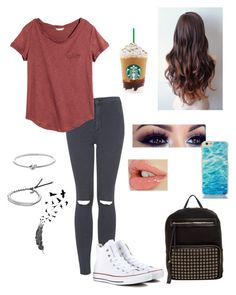 """""""Lazy Day"""" by haily74 ❤ liked on Polyvore featuring mode, Topshop, H&M, Michael Kors, Converse, Kate Spade, Urban Expressions, women's clothing, women et female"""