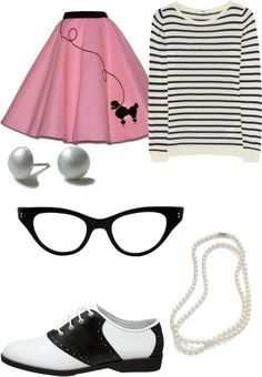 Sock Hop Outfit... I like the stripe shirt with the poodle skirt. And of course, pearls and saddle shoes!