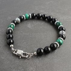 Genuine Green Malachite & Black Onyx Gemstone Mens Bracelet - Handcrafted High Quality Jewelry for Men, Dad, Husband, Him  I designed and handcrafted this handsome bracelet for men, combining high quality gemstone beads of Malachite in rich green with a swirling pattern and Black Onyx. Detailed metal beads and spacers in antiqued silver finish pewter accentuate this bracelet, and a masculine rectangular lobster clasp in stainless steel finishes it off. All metal materials are lead-safe. L...