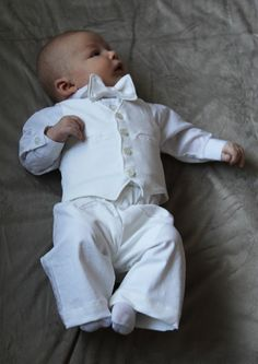 Boys  Blessing or Christening Outfit 3-6 mo. (Corduroy). $75.00, via Etsy. - ok I spent a 1/3 on this for Brandt's blessing got the white pants and shirt aT babies r us for 20 be tie for 1 on eBay and bought material for 3 and my mom made the vest he was just so cute