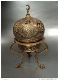 Grand Brûle encens Parfum Laiton Argent Cuivre Syrie Syrian Islamic brass Ottoman Cairoware incense burner
