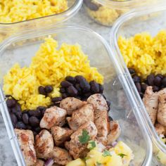 Jerk Chicken Meal Prep Bowls for lunch or dinner throughout the week. Jerk spiced chicken, black beans, pineapple salsa and yellow rice.