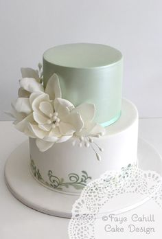 love the simplicity, white and green, could be piped brush work on green leaf pattern