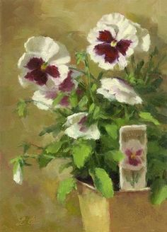 "Daily Paintworks - ""Pansies"" - Original Fine Art for Sale - © Linda Jacobus"