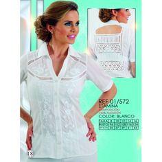 01/572CAMISERA MANGA CORTA EN PASADO Y ESPALDA EN PATECABRA Tunic Tops, Women, Fashion, Hand Embroidery, Lace, White Shirts, Bruges, Stitching, Past Tense