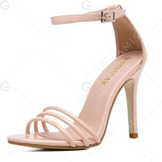 Pink 38 High Heel Ankle Strap Sandals (28 CAD) ❤ liked on Polyvore featuring shoes, sandals, ankle strap high heel sandals, ankle tie shoes, high heeled footwear, high heels sandals and ankle tie sandals