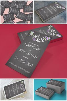 Printable Lilac & Grey Floral Chalkboard Save The Date Cards  #prandski #weddingsuk #diywedding #savethedates