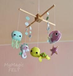 Baby mobile ocean Crib mobile Under sea Baby by MyMagicFelt