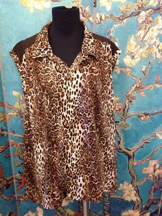 FRENCH LAUNDRY PLUS 3X BROWN ANIMAL PRINT BUTTON COLLAR HI-LO HEM SLEEVELESS TOP #FrenchLaundry #Tunic #Casual