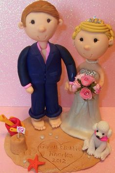 Custom made personalised wedding cake toppers, bride & groom / civil partnership www.Tinylovetoppers.co.uk From £85