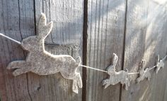 Hare Garland Mad March Hare Spring Decor Rustic Decor by FeltWitch, £8.00