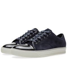Lanvin Patent Toe Cap Low Sneaker (Navy)
