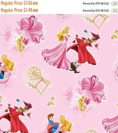 ❘❘❙❙❚❚ ON SALE ❚❚❙❙❘❘     Disney's Sleeping Beauty Fabric...soo Cute...Great Fabric for lots of projects...This listing is for   1/2 yd x 44 inches...so cute for quilting that Special Blanket...we have the matching Panel...Gorgeous combo for that Special Quilt...   For additional Fabric, please request total amount needed and I will create special listing for you.     SPECIALS:    40-70% off Patterns n Books SALE...     FREE Shipping on 3rd and 4th items when purchased within 24 hrs of 1st…