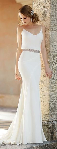 Simple White Prom Dress,Beaded Bodycon Prom Dress,Custom Made Evening Dress,17231