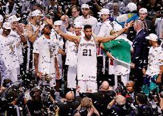 Tim Duncan celebrates the San Antonio Spurs' 2014 NBA Title. Duncan announced his retirement