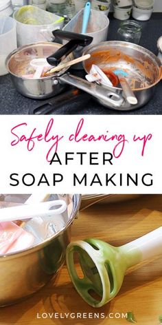Tips on safely cleaning up after soap making including how to tackle dirty pans, soap-encrusted stick blenders, and counter tops. Includes ways to reduce mess and to avoid irritating your skin Handmade Soap Recipes, Soap Making Recipes, Handmade Soaps, Diy Soaps, Handmade Headbands, Handmade Crafts, Handmade Rugs, Soap Colorants, Glycerin Soap