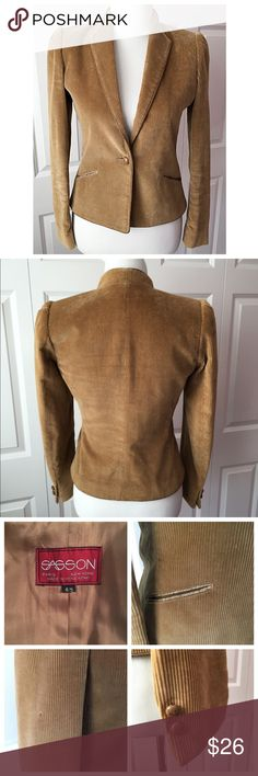 "• VINTAGE SASSON • Chic corduroy jacket from Sasson. Has stood up well over time- some wear on the corduroy, trim and buttons as one would expect to see on a piece of this age. Size 4/5- approx. 18"" across armpit, 15"" waist, 20"" long. Sasson Jackets & Coats Blazers"