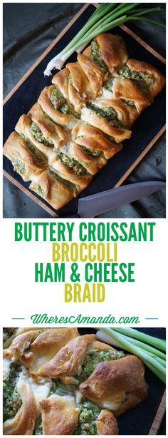 Buttery Croissant Broccoli Ham and Cheese Braid Recipe – Where's Amanda? – Famous Last Words Broccoli Pasta, Broccoli And Cheese, Broccoli Cheddar, Ham And Cheese, Ham Pasta, Cheese Croissant, Croissant Recipe, Boiled Ham, Cinnamon Roll Dough