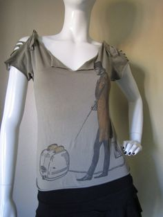 Upcycled Organic Cotton T Shirt- Cut Shredded Braided T-Shirt- Juinors- Women 'Toast of the Town'. via Etsy.