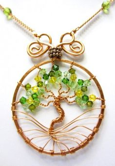 Wire Wrapped Copper Tree of Life with Swarovski Crystals