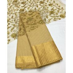 """""""Gold kota banarasi saree with gold emboridery blouse To purchase mail us at houseof2@live.com or whatsapp us on"""