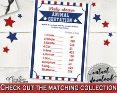 Animal Gestation Baby Shower Animal Gestation Baseball Baby Shower Animal Gestation Baby Shower Baseball Animal Gestation Blue Red pdf YKN4H #babyshowerparty #babyshowerinvites