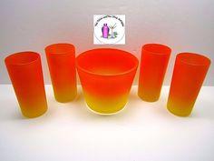 Vintage Retro Orange Yellow Blendo Style Ice Tub 4 Tumblers Glasses Set
