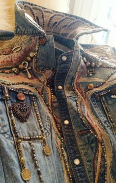 Great boho upcycled denim jacket --- Wish I had the patience to do this! Too many projects backed up as it is!