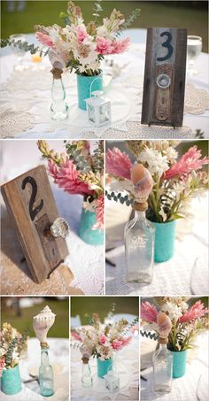 door knob table numbers... and keys tied to place cards! such a cute idea