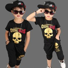 Teenagers clothes boys clothing sets fashion skull pattern T-shirt pants kids clothing school costume boys clothes cotton 3-8T