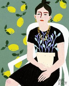 Fashion inspiration, black dress with blue leaf details, gold chain and top bun. portrait by Anne Bentley