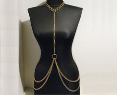 body chain necklace gold body chain necklace by BeyhanAkman, $37.00