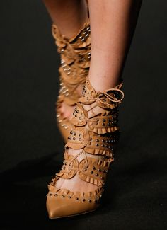 Best Runway Shoes from the Fall 2015 Shows 10 - Altuzarra caramel lace up heels with studs