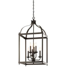 Larkin Olde Bronze Six Light Cage Foyer Pendant Kichler Lantern Pendant Lighting Ceiling L