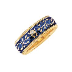 Wellendorff Forget-me-not Blue Enamel Spinning Band Ring