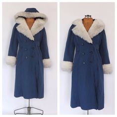 Vintage 1970s Blue Bonders Trench Coat Princess Coat White Fur Trim Outerwear 60s Boho Hippie Winter Coat Sleigh Ride Jacket Size Small