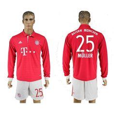Bayern München 16-17 Thomas #Muller 25 Hjemmebanetrøje Lange ærmer,245,14KR,shirtshopservice@gmail.com
