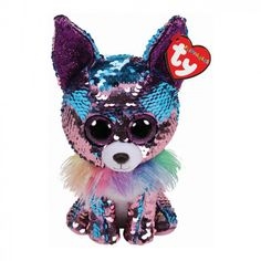 TYs innovative new sequined Flippable Boo series! The new sequin pattern design on the Flippable Boos brings a whole new dimension to the TY collectible craze! Simply stroke the toy in different directions to change the colour of the sequins! Ty Beanie Boos, Beanie Boo Dogs, Beanie Babies, Toy Chihuahua, Toy Puppies, Ty Animals, Plush Animals, Big Eyed Stuffed Animals, Beanie Boo Birthdays