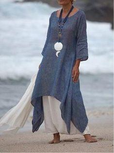 029358d55a Vintage Asymmetric 3 4 Sleeve Crew Neck Plus Size Dress
