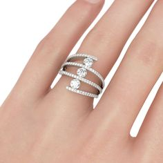JEULIA Crisscross Women's Wedding Band Lab-Created White Sapphire Sterling Silver