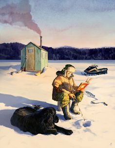"""A mid-winter illustration for the cover of """"Bookmarks Magazine. I Love Books, Good Books, Books To Read, How To Read People, Guys Read, Reading Art, Reading Books, World Of Books, Pictures Of People"""