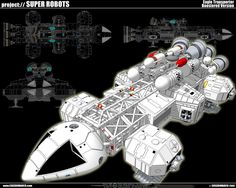 "Space 1999 Eagle Transporter 5 by ~cosedimarco on deviantART - one of my best childhood memories was watching this show. I had a Eagle-1 Spaceship toy that was a good 2"" long."