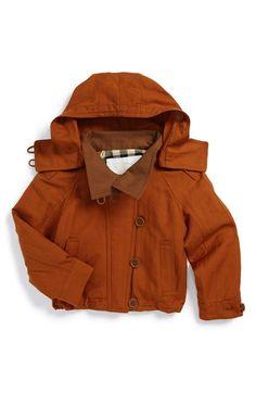Burberry 'Mini Oakdale' Silk & Linen Hooded Jacket (Little Girls & Big Girls) available at #Nordstrom